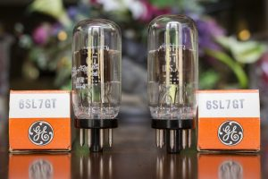 One pair of GE 6SL7GT coin base & chrome plates vacuum tubes and tube boxes
