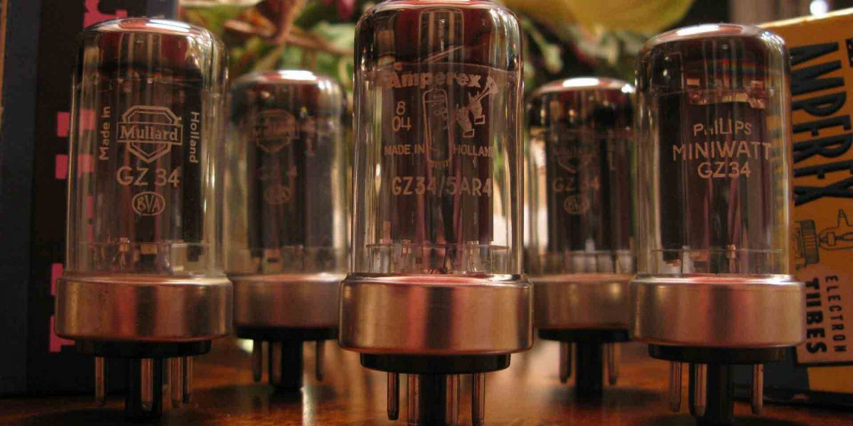 A collection of GZ34 Metal Base NOS vacuum tubes with different brands on them